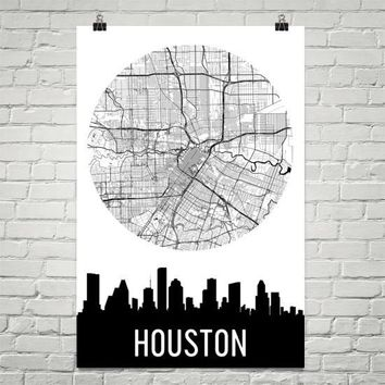 Houston Skyline Silhouette Art Prints
