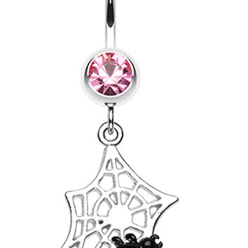 Mini Spider Cobweb Belly Button Ring