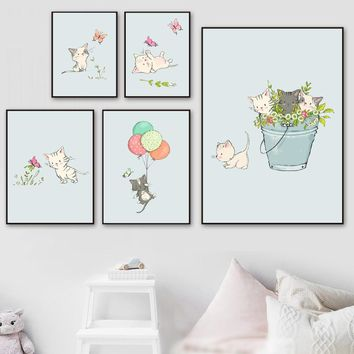 Cartoon Black White Cat Balloon Flower Nordic Posters And Prints Wall Art Canvas Painting Wall Pictures Kids Room Wall Decor