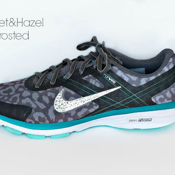 Women's New Release Nike Dual Fusion 2 in Gray Cheetah/White Wolf/Teal with Swarovski crystal detail