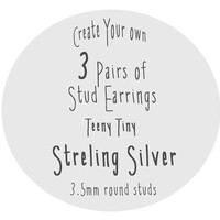 3 Pairs of Teeny Tiny Stud Earrings, Choose Your Colors, Sterling Silver, Made to Order