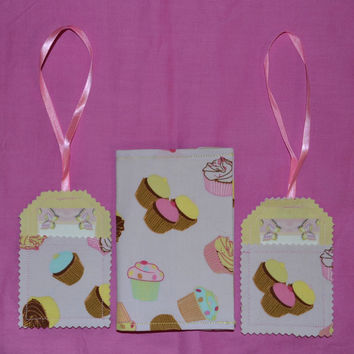 Lilac CUPCAKES Fabric Passport Cover Or Coupon Organizer PLUS 2 Luggage Tags