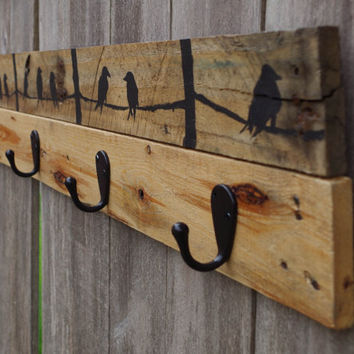 FREE SHIPPING- Rustic wood coat rack, entryway storage, wall coat rack, 4 hooks, coat hanger, wall coat hook rack, towel rack, towel hooks