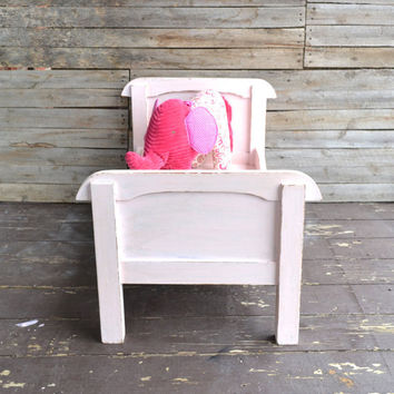 Light Pink Shabby Chic Distressed Children's Doll Bed