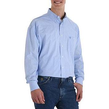 Wrangler Men's George Strait Cowboy Cut Collection Long Sleeve Blue Seed Pod Western Shirt MGS313M