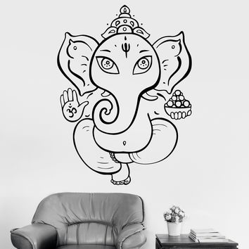 Vinyl Wall Decal Ganesha God Hindu India Elephant Stickers Mural Unique Gift (ig3088)