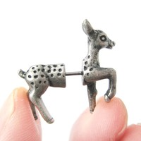 Fake Gauge Earrings: Bambi Deer Animal Faux Plug Earrings in Silver