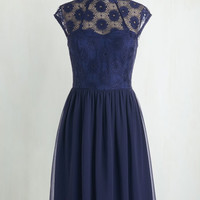 Vintage Inspired Long Cap Sleeves Fit & Flare Up and Stunning Dress in Midnight