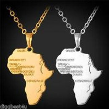 Africa Necklace Gold Color Pendant & Chain African Map Gift for Men/Women