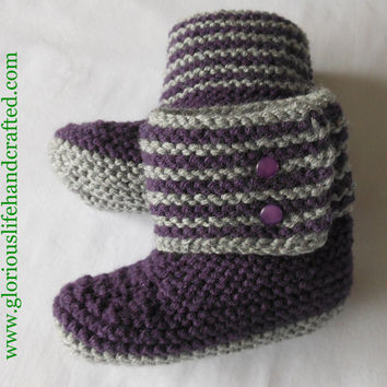 15% CLEARANCE SALE - Hand Knit Little Girl's Boot Slipper. Toddler Size 5. Purple & Grey.