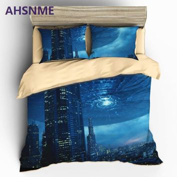 AHSNME HD 3D UFO Bedding Sets Sci-Fi Space Themed Duvet Cover Set Pillowcase AU US EU or Custom Size King Queen Size Bed S