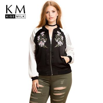 Kissmilk Plus Size Fashion Women Clothing Casual Preppy Style Embroidery Print Outwear Basic Jacket Zipper Big Size Jacket Coat