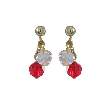 6mm Red And White Preciosa Beads On Gold Tone Sterling Silver Ball Post Earrings -0.80