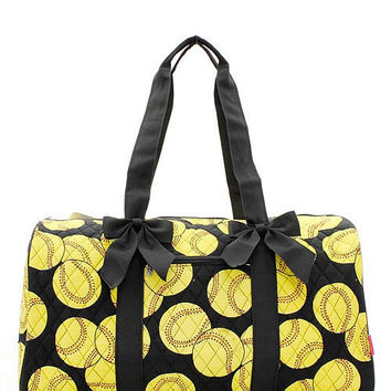 Softball Print Quilted Duffel Bag