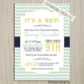 Soft Green Chevron It's a Boy Invitation for Baby Shower - Bridal Shower Party Aqua Fresh Design Ribbons Wedding Card - DIY Printable (010)