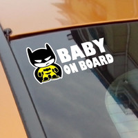 "Baby Batman ""BABY ON BOARD"" Vinyl Car Decal Sticker / reflective tape stickers"