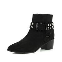 River Island Womens Black suede studded ankle boots