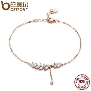 BAMOER 925 Sterling Silver Rose Gold Tree Leaves Leaf Chain Link Women Lobster Clasp Bracelet Jewelry