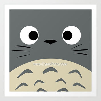 "Totoro Kawaii My Neighbor Square ""Curiously Totoro"" 8x8 Pop Art Print Anime Grey Manga Troll Hayao Miyazaki Studio Ghibli Gift Home Decor"