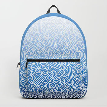 Ombre blue and white swirls doodles Backpack by Savousepate