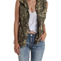 Olive Drawstring Camo Print Utility Vest by Charlotte Russe