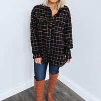 Lazy Sunday Flannel: Black/Multi