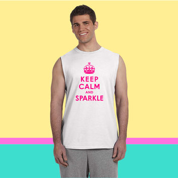 Keep Calm and Sparkle (2) Sleeveless T-shirt