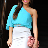 She's So Sophisticated Dress: Grey/Mint   Hope's