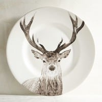 Winter Buck Deer Porcelain Salad Plate