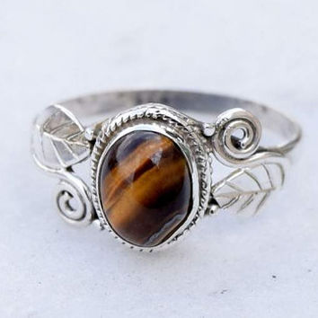 Tiger Eye stone , Tiger eye ring, silver ring, silver Tiger eye ring,92.5 sterling silver, Natural tiger eye stone Silver Ring,RNSLTE10