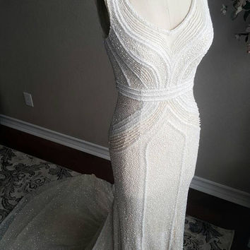 Art Deco Gatsby Inspired Full Beaded Wedding Dress Custom Couture unique wedding dress, sleeveless, fitted, fit and flare, long train