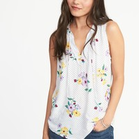 Relaxed Printed Tie-Neck Tank for Women | Old Navy