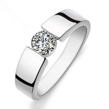 Shiny CZ Zircon Silver Plated Wedding Finger Ring