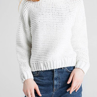 White Knitted Jumper with Crew Neck