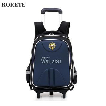 Removable Orthopedic Children School Bags Child Climb Stair Trolley Backpack Kids Wheeled Bags Boys Girls Reflective Bookbag