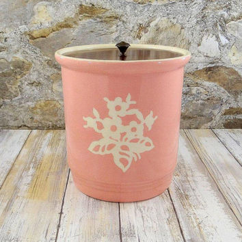 Harker Pottery Pink Cameoware Canister with Lid