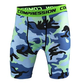 2018 Men Crossfit Camo Shorts Running Training Pants Gym Jogging Workout Compression Dry MMA Clothing Bermuda Tights