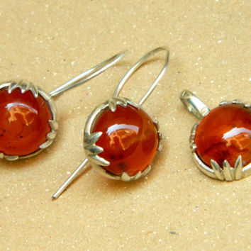 Honey Drops sterling silver earrings and pendant set with stunning translucent amber-like agate ooak handmade jewelry