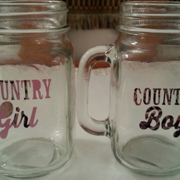 Personalized Drinking jars with country boy & country girl and deer heads with heart on jar.