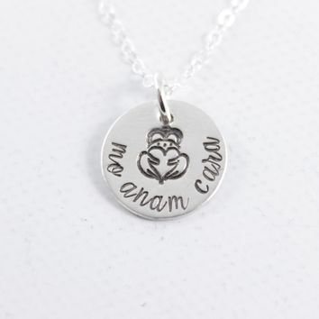 """""""Mo Anam Cara"""" - Irish / Gaelic Hand stamped Sterling Silver or Gold Filled Necklace"""