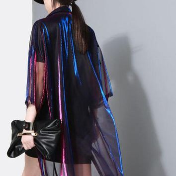Holographic Sheer Mesh Button Dress Cloak