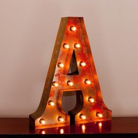"24"" Letter A Lighted Vintage Marquee Letters with Screw-on Sockets"