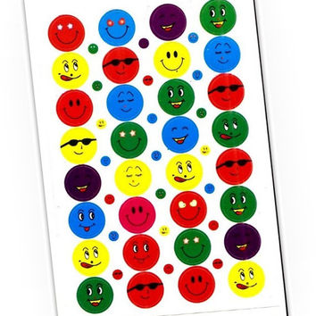Emotional printed stickers small emoji smile face life planner stickers kawaii happy planner sticker paper print Icon daily colorful plan