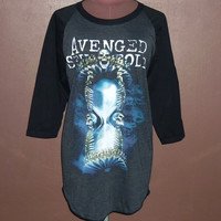 Workout Shirts — Avenged Sevenfold T Shirt Logo Band Raglan Shirt Hail To The King Skull Nightmare Size M L Xl