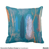 Decorative Feathers Design Throw Pillow