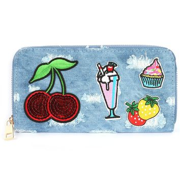 Patched Denim Fabric Clutch Wallet Bag Accessory 342