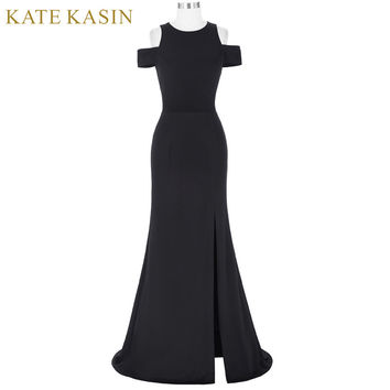 Kate Kasin Women Black Prom Dresses 2017 Vestido de Festa Cap Sleeve Cocktail Dress Long Prom Gowns Special Occasion Dresses
