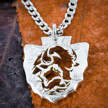 Buffalo Arrowhead necklace, Bison Native American Jewelry by NameCoins