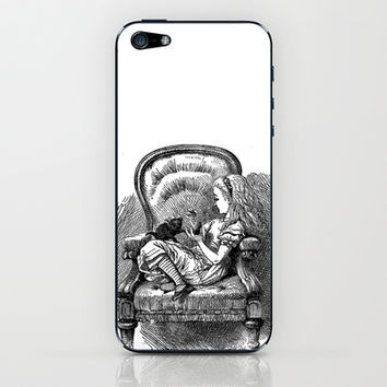 Vintage Alice in Wonderland with black kitten antique book drawing emo goth illustration art print  iPhone & iPod Skin by iGallery