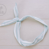 Soft BLUE Striped Wire Headband Bow Headband Toddler Headband Adult Rockabilly Headband Retro Tie UP Headband